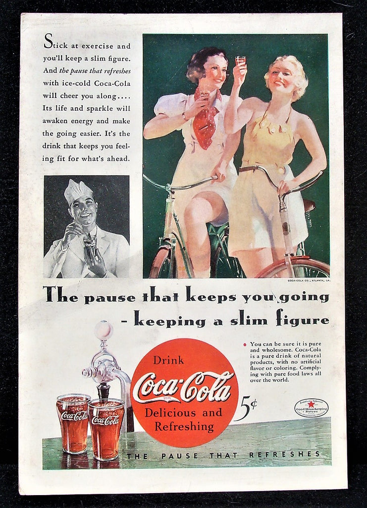 1934 Coca-Cola Coke Pretty Women on Bicycles Soda Fountain Bikes Photo Print Ad