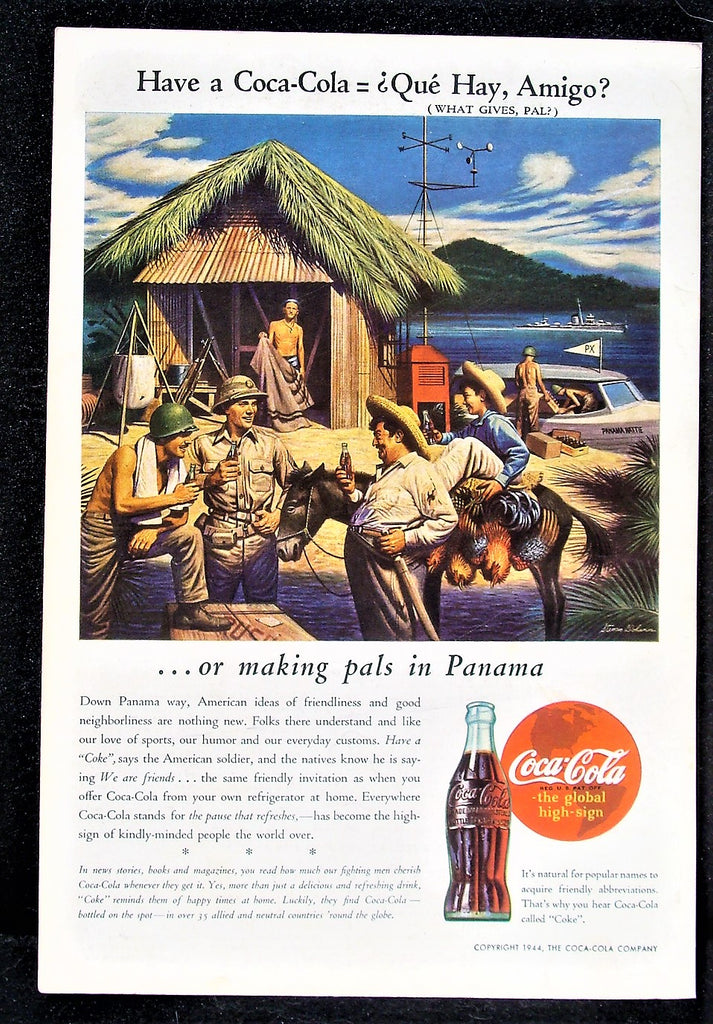 1944 Coca-Cola Coke  WW2 Soldiers Panama Way Grass Hut Speed Boat Photo Print Ad