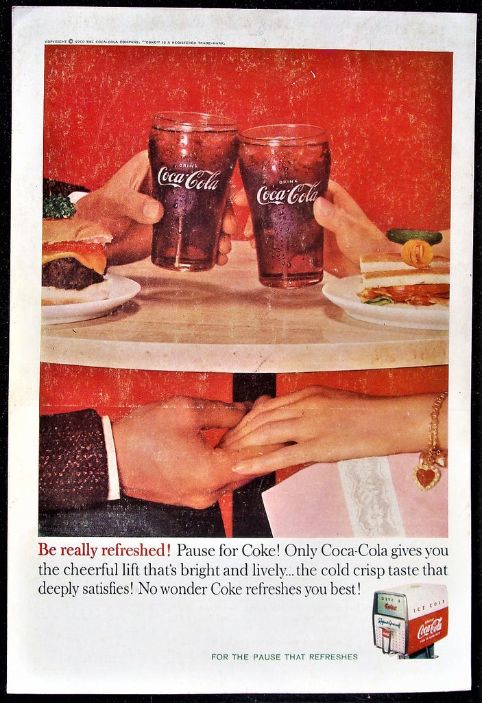 VTG 1960 Coca-Cola Coke Date Lunch Lovers Sharing a Moment Glossy Photo Print Ad