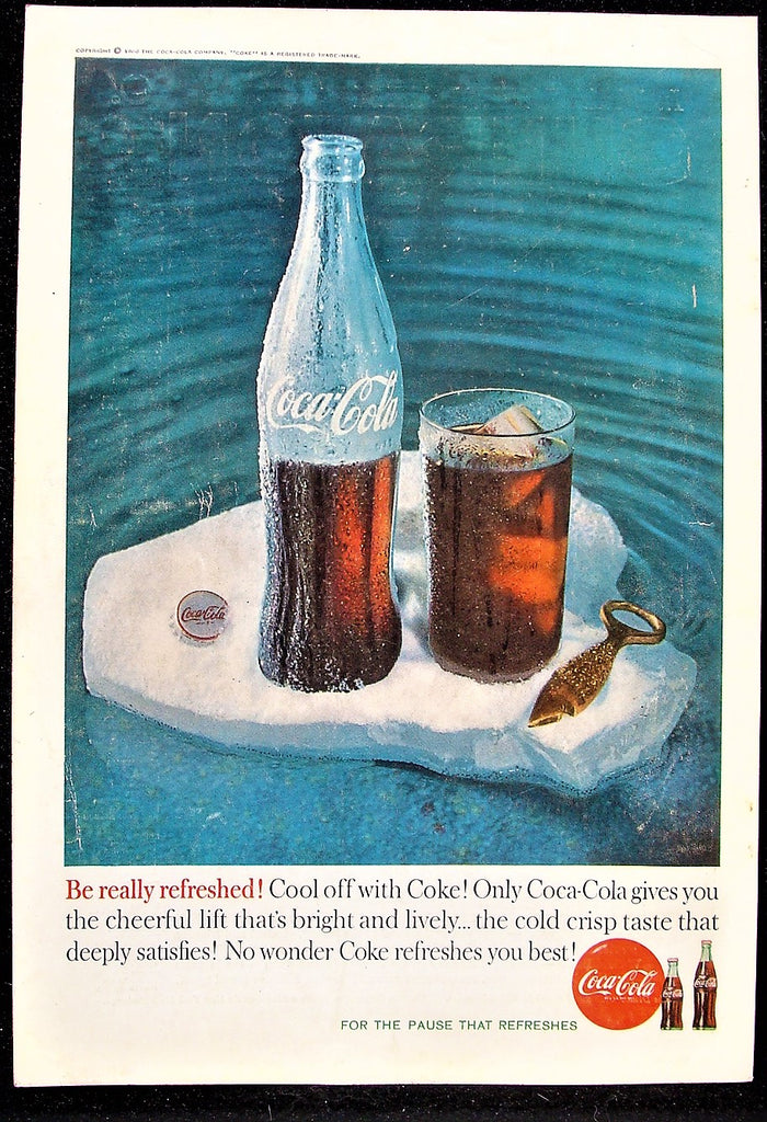 1960 Coca-Cola Coke Floating Iceberg 16 oz Bottle & Cap Glossy Photo Print Ad