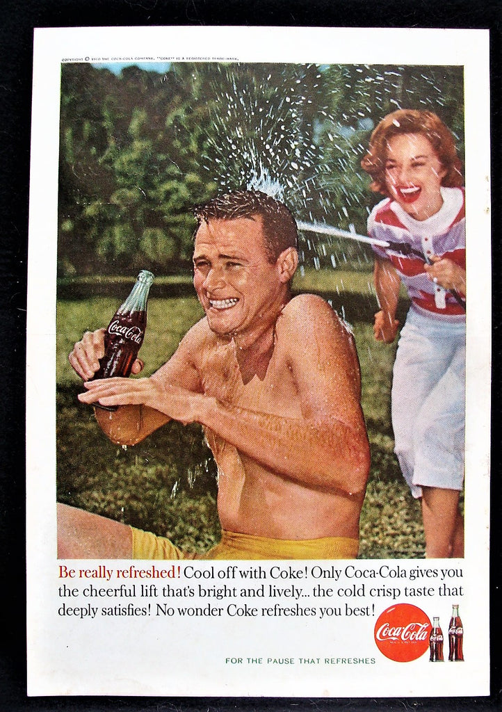 1960 Coca-Cola Coke Husband Getting Hosed by Wife Drinking Glossy Photo Print Ad