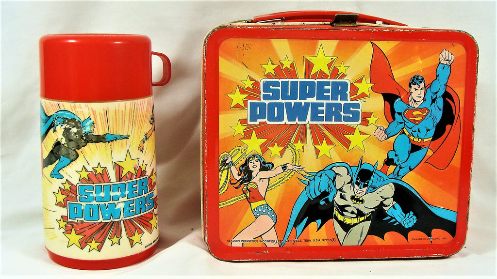 VTG 1983 DC Comics Super Powers Aladdin Metal Lunchbox & Thermos Superman Batman