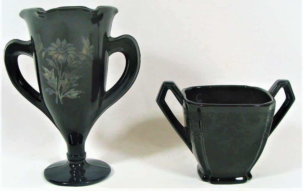 2 VTG Etched Black Dark Purple Amethyst Double Handle Loving Cup & Sugar Bowl