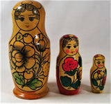 Vintage Wood Russian Nesting Dolls Part Set 3 Girls