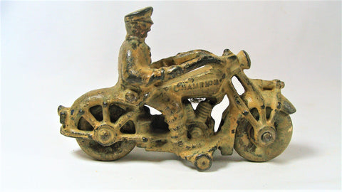 "Vtg 1930s Cast Iron Hubley Motorcycle Cop Champion Gas Tank White Tires 5"" VG"