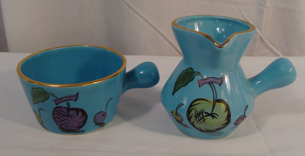 Mid Century Modern Sugar Creamer Japan Blue w/ Fruit Gold Trim Retro Design - Cabin Fever Purveyors