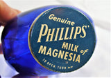 Vintage Cobalt Blue Large Phillips Milk Magnesia 24 oz Bottle Great Metal Cap