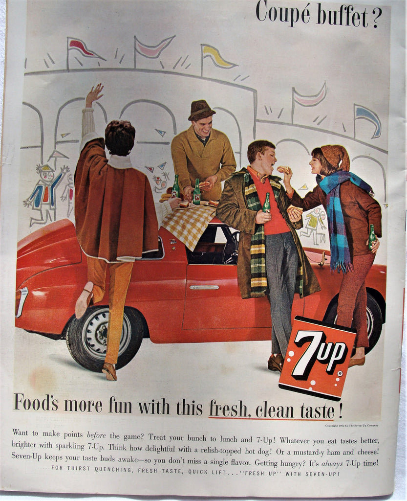 1962 Large Red Coupe' Buffet Tailgate Party Football 7 Up Soda Picnic Print Ad - Cabin Fever Purveyors