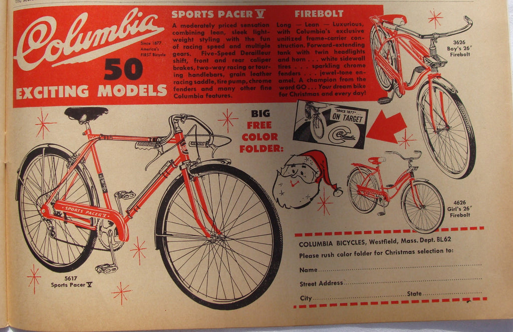 1962 Vintage Columbia 50 Models Bicycles Sports Pacer Fireball Bike Print Ad - Cabin Fever Purveyors