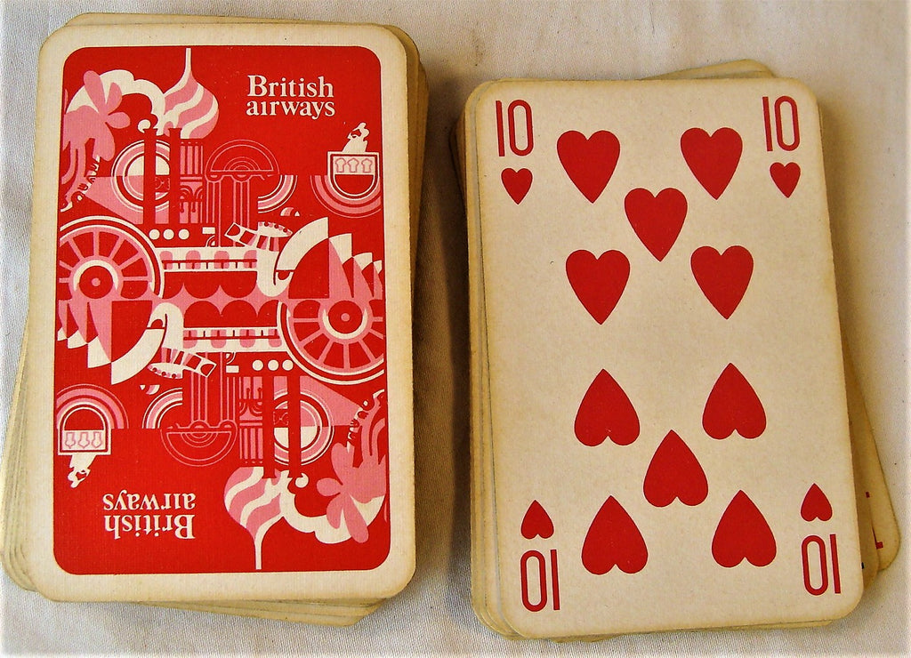 Vintage British Airways Airlines Airplanes Playing Cards Full Size Red Set