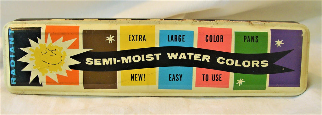 Vintage Colorful Tin Semi-moist Water Color Metal Paint Tray Radiant Art Crayon