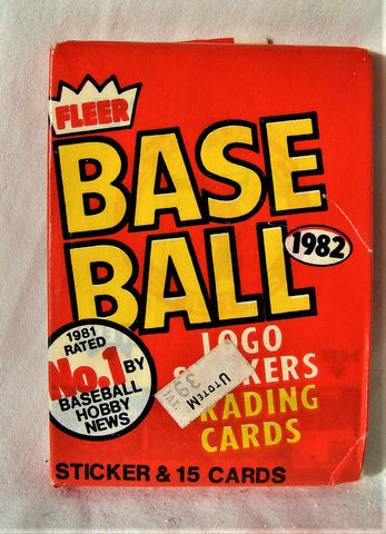1982 Fleer BaseBall NOS Unopened Sealed Single Wax Pack Trading Cards Sticker