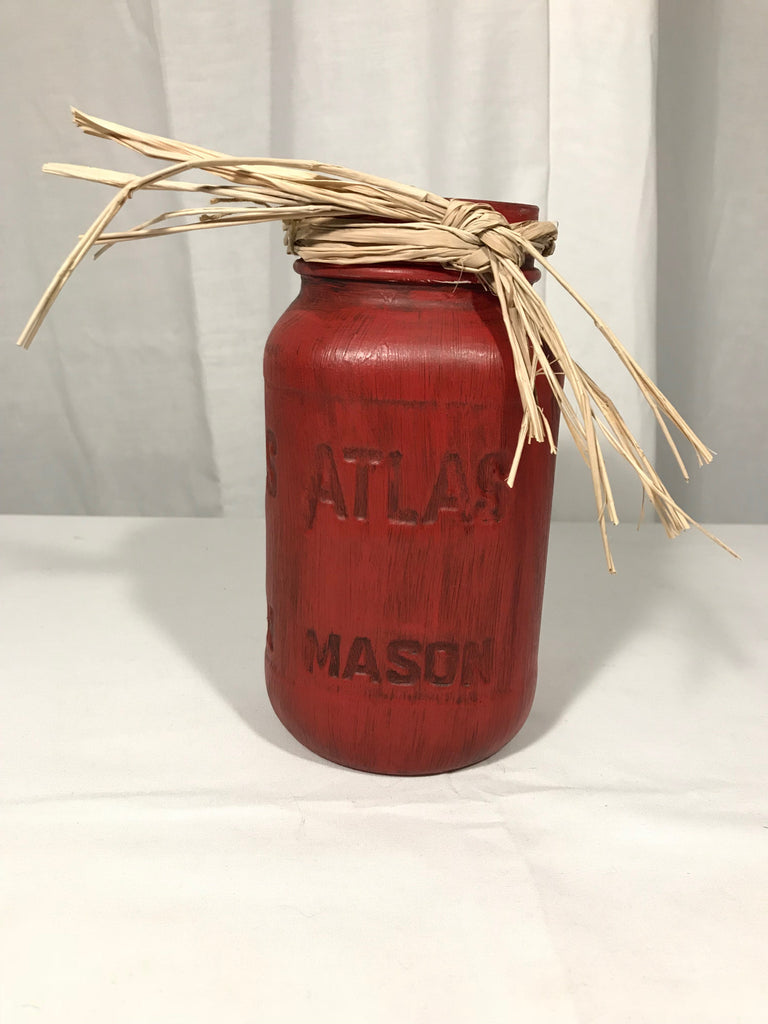 Hand Painted Mason Quart Jar Rustic Fall Farmhouse Decor Atlas Grungy Red OOAK