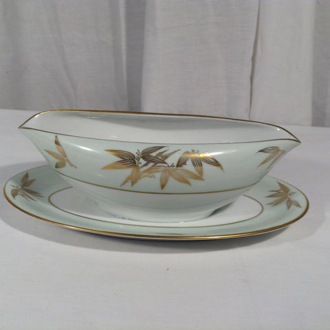 Vtg Noritake 5271 Gravy Boat Attached Underplate Gold Bamboo Cream Light Green