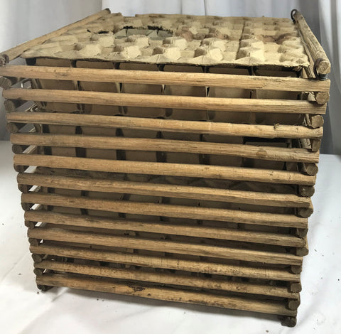 Primitive Wood 12 Dz Egg Crate Carrier Box Original Hand Made w/Sticks Folk Art
