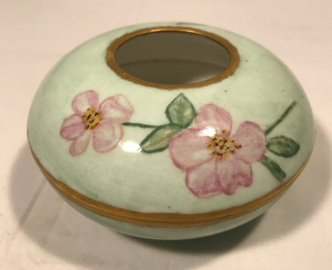 Vtg Limoges France W.G. & Co Hair Receiver Hand Painted Pink Floral Green Gold - Cabin Fever Purveyors