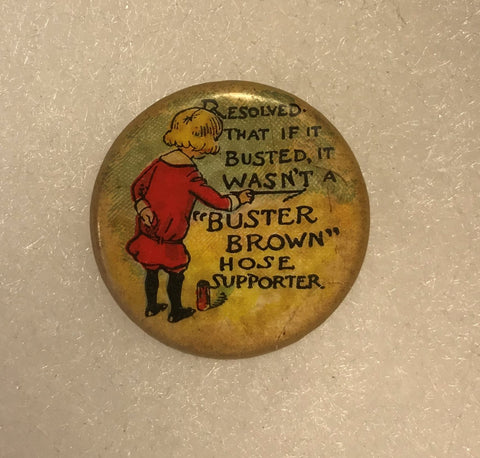 Antique 1900s Buster Brown Hose Supporter Shoes Advertising Pin Pinback Button - Cabin Fever Purveyors