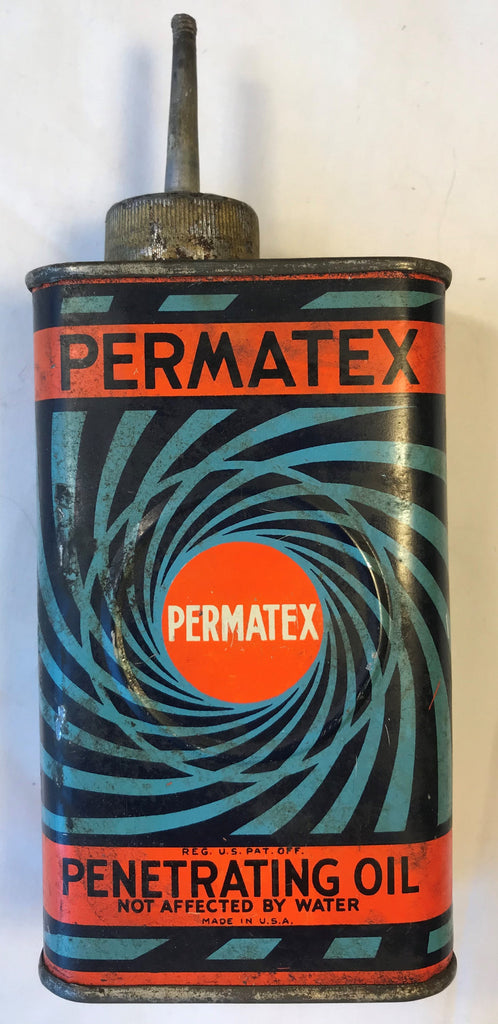 Vintage Permatex Penetrating Oil Tin Can Lead Spout USA Blue Black Swirl Design - Cabin Fever Purveyors