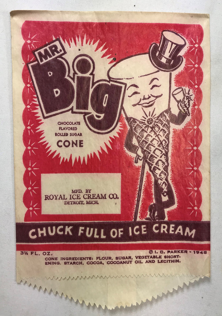 Vtg Royal Mr Big Rolled Cone Ice Cream Wrapper Novelty Bag Wax Sleeve NOS 1948 - Cabin Fever Purveyors