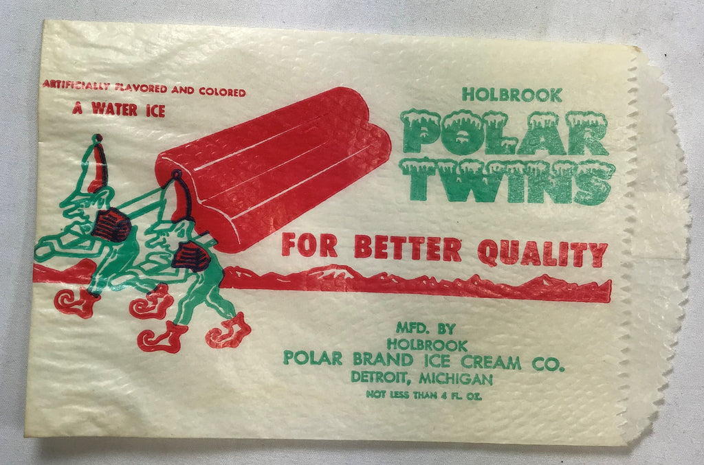 Vtg Holbrook Polar Twins Water Ice Popsicle NOS Unused Wrapper Bag w/ Elves - Cabin Fever Purveyors