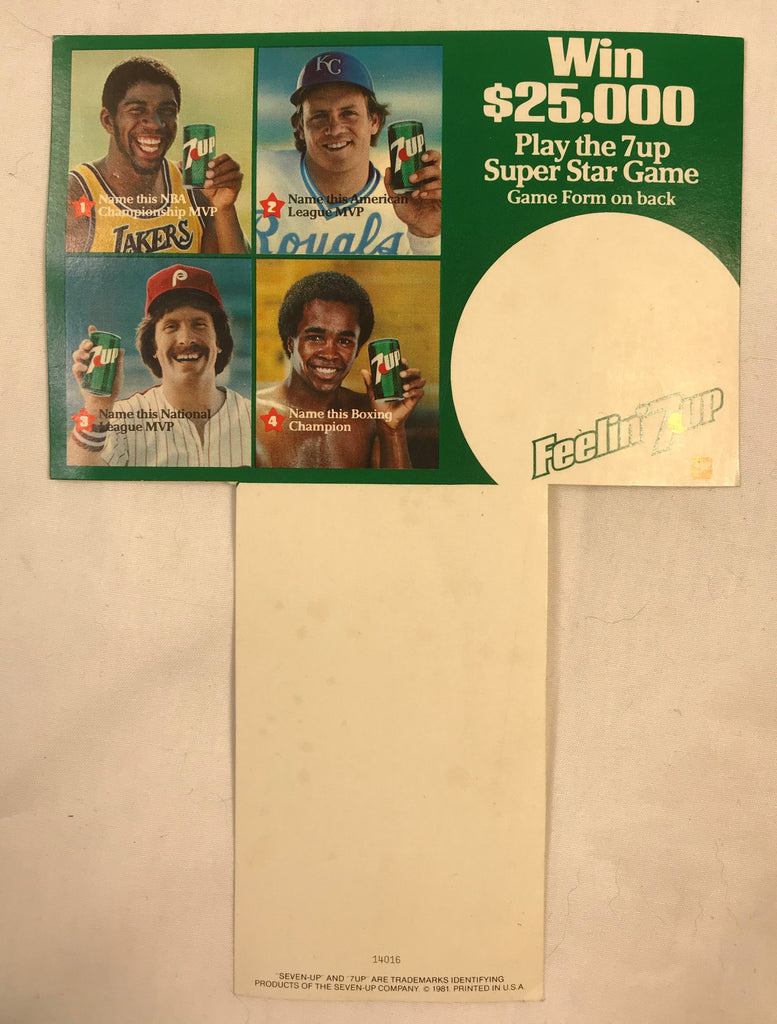 1981 Super Star Game Advertising Card 7up Card Johnson Brett Schmidt Leonard NOS - Cabin Fever Purveyors