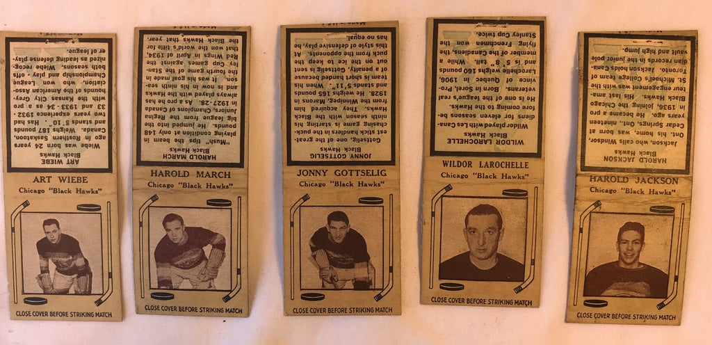 1930s Diamond Match Covers Books U PICK Ice Hockey Chicago Black Hawks Players - Cabin Fever Purveyors