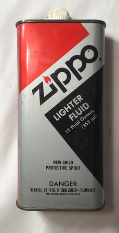 Zippo Lighter Fluid Tin 12 oz New Child Protective Spout Vintage - Cabin Fever Purveyors
