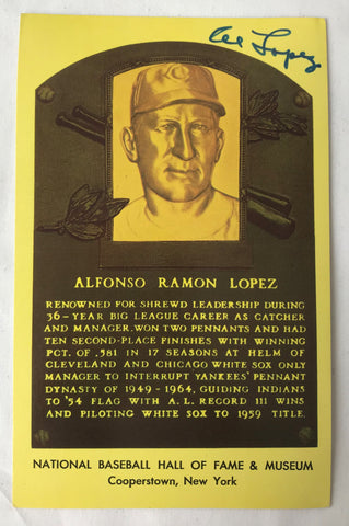 Vintage Autograph HOF Baseball Player AL ALFONSO LOPEZ Yellow Plaque PostCard PC - Cabin Fever Purveyors