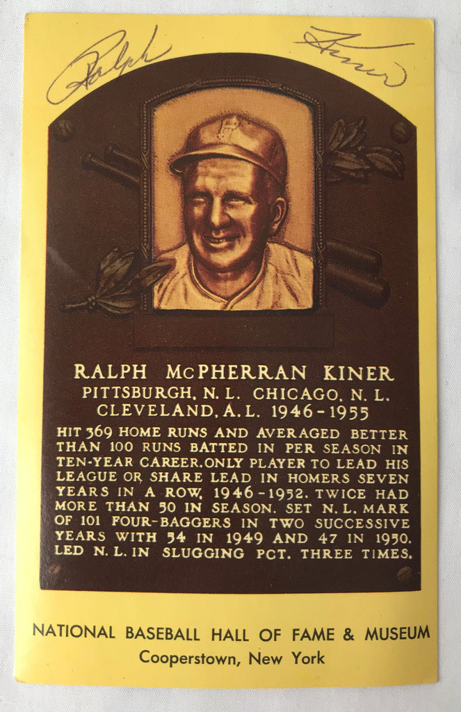 Vintage Autograph HOF Baseball Player RALPH KINER Yellow Plaque PostCard PC - Cabin Fever Purveyors