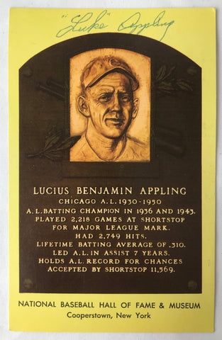 Vintage Autograph HOF Baseball Player LUKE APPLING Yellow Plaque PostCard PC - Cabin Fever Purveyors