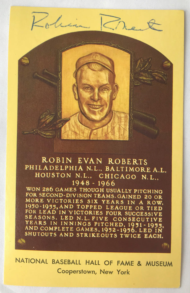 VTG Autograph HOF Baseball Player ROBIN ROBERTS Yellow Plaque PostCard PC - Cabin Fever Purveyors