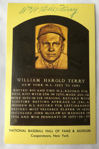 VTG Autograph HOF Baseball Player BILL WILLIAM TERRY Yellow Plaque PostCard PC - Cabin Fever Purveyors