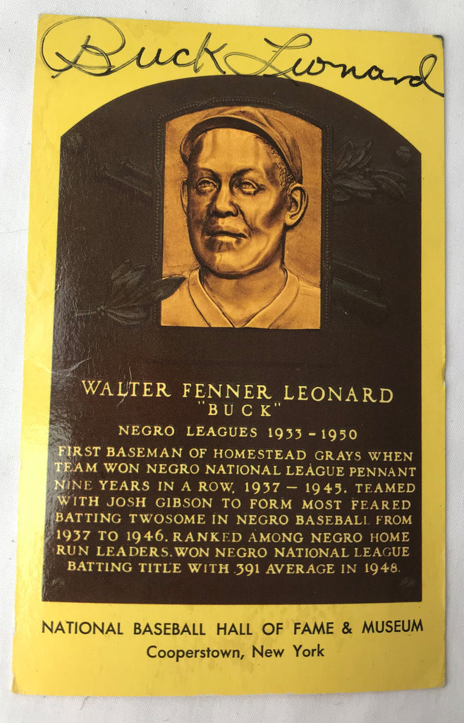 VTG Autograph HOF Baseball Player BUCK WALTER LEONARD Yellow Plaque PostCard PC - Cabin Fever Purveyors