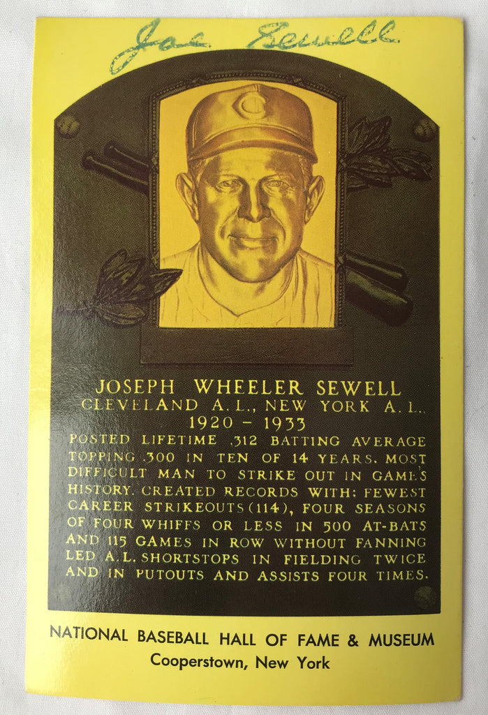 VTG Autograph HOF Baseball Player JOE JOSEPH SEWELL Yellow Plaque PostCard PC - Cabin Fever Purveyors