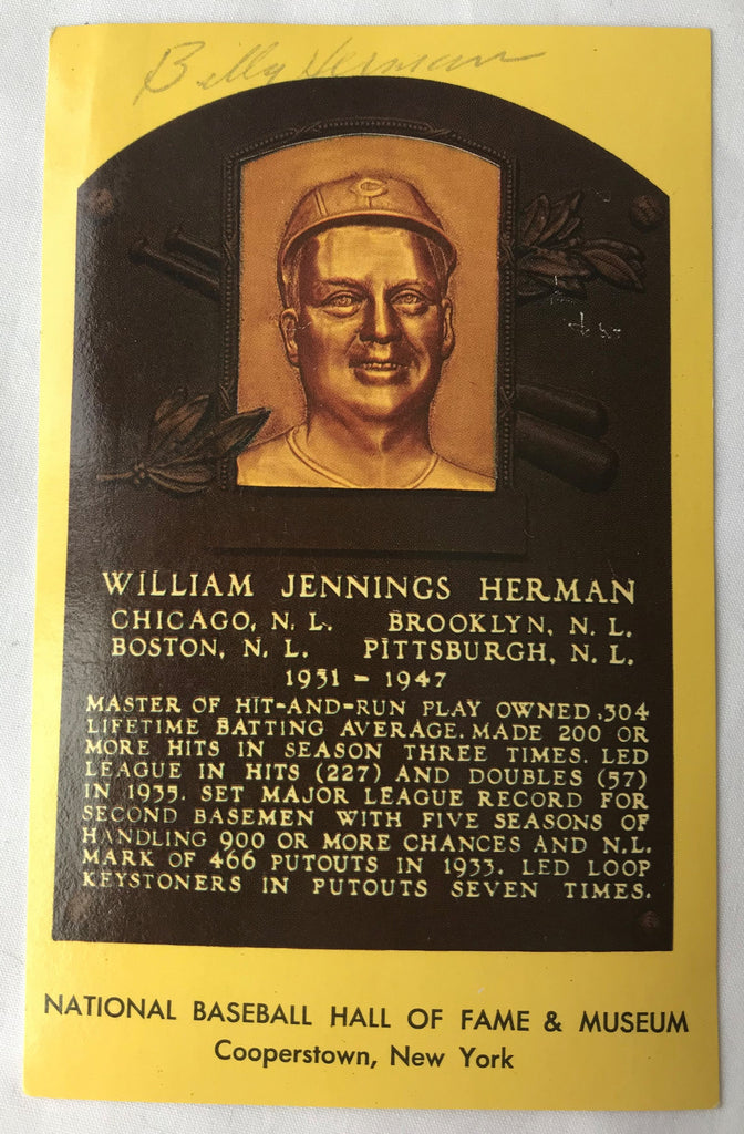 VTG Autograph HOF Baseball Player BILL WILLIAM HERMAN Yellow Plaque PostCard PC - Cabin Fever Purveyors