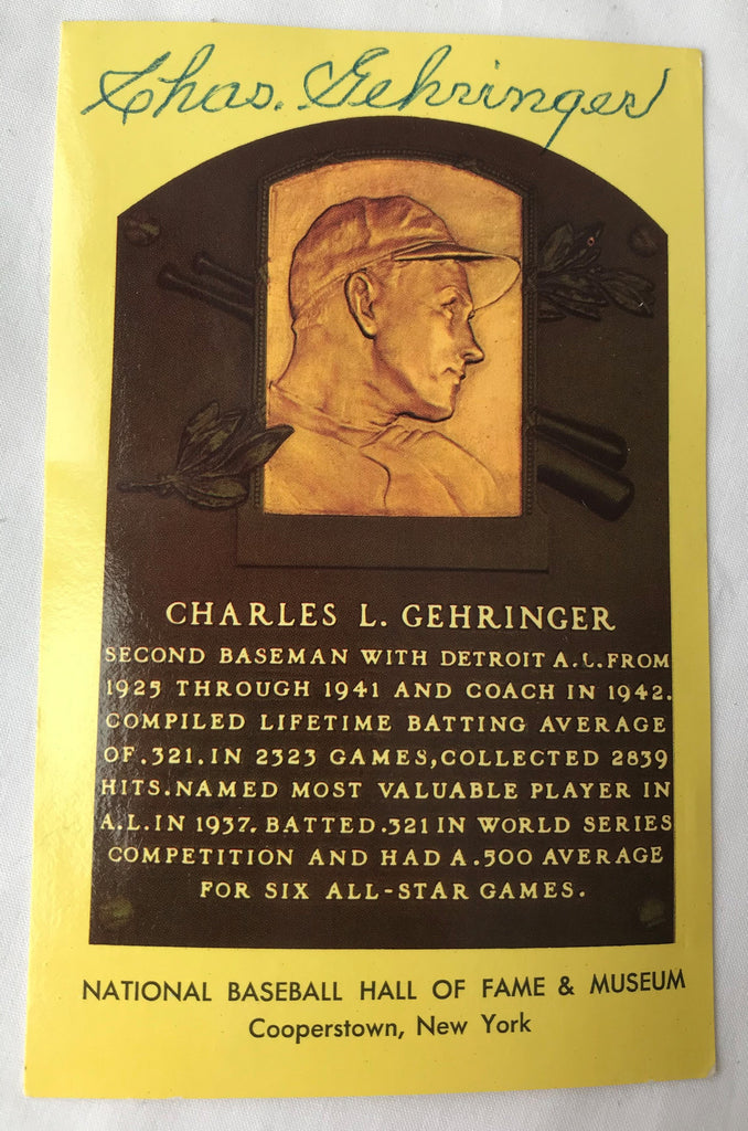 VTG Autograph HOF Baseball Player CHARLES GEHRINGER Yellow Plaque PostCard PC - Cabin Fever Purveyors
