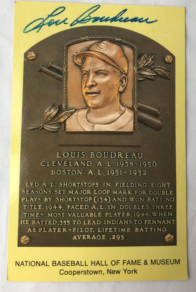 VTG Autograph HOF Baseball Player LOU LOUIS BOUDREAU Yellow Plaque PostCard PC - Cabin Fever Purveyors