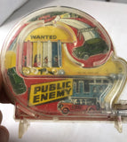 Vintage Marx Colorful Public Enemy Old Car Chase Scene Pinball Machine Mini Game - Cabin Fever Purveyors