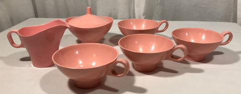 Vintage Lot of 7 pieces Boonetonware Pink Cups Sugar w/ Lid Creamer EUC Melmac - Cabin Fever Purveyors