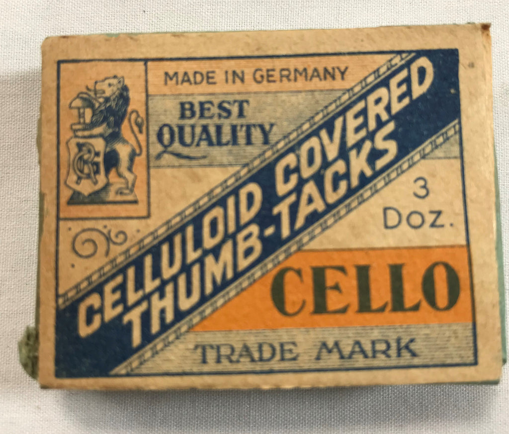 Atq Celluloid Covered Thumb Tacks CELLO Brand Germany NOS Advertising Wood Box - Cabin Fever Purveyors