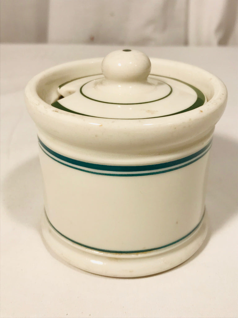 Vintage Shenango China Green Line Stripe Condiment Jar with Lid Restaurantware