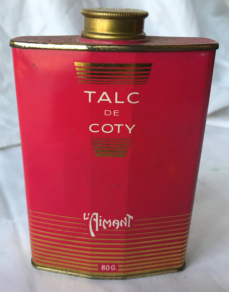 Vintage L'Aimant Talc DE Coty 80g Metal Tin w/ Product Great Red Color Beautiful - Cabin Fever Purveyors