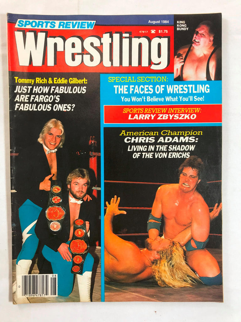 Vintage Sports Review Wrestling Magazine August 1984 Chris Adams Ed Gilbert WWF