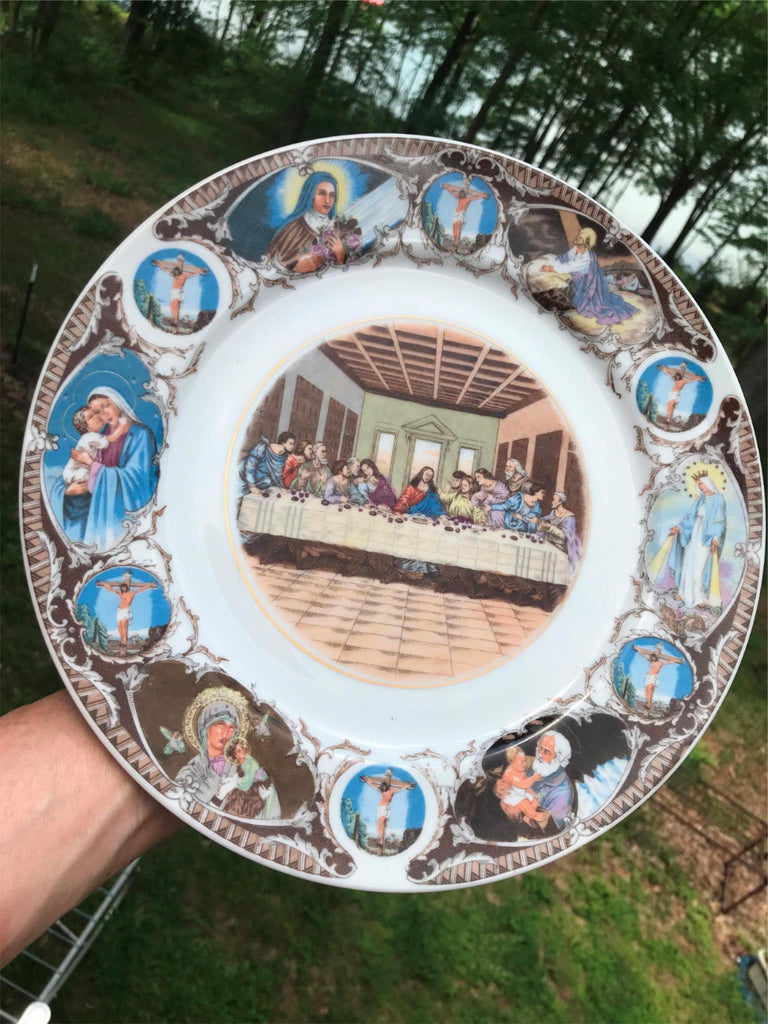 Vintage Last Supper Colorful Transferware Plate Arrow Sticker Japan 10 1/4""