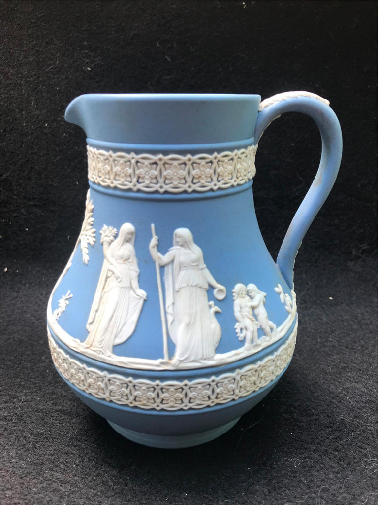 "Vintage Wedgwood Jasperware Made in England Blue with Cream Small 5"" Pitcher"