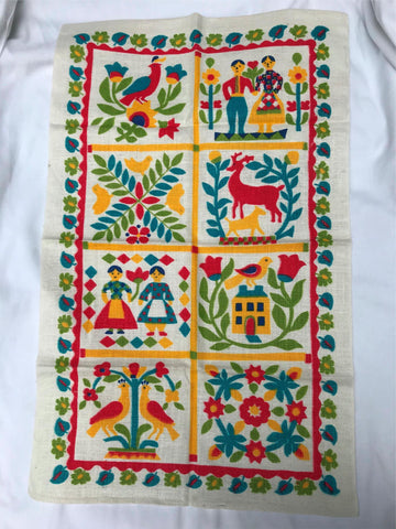 "Vtg German Folk Art PA Dutch Tea Towel Unused Linen Kitchen 1"" Header Curtain"
