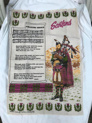 Vtg Scotland Amazing Grace Tea Towel Unused Scottish Linen Bag Piper Lockhart