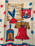 Vtg 4th of July Tea Towel Independence Day Unused Linen Colorful Liberty Bell