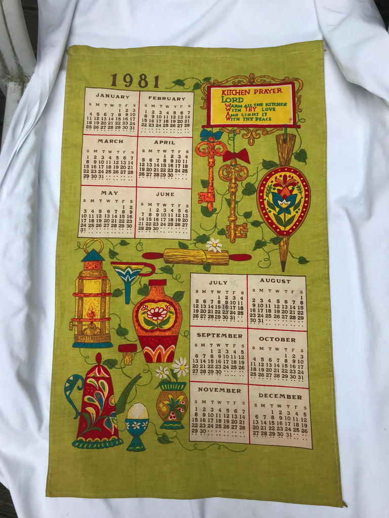 Vtg 1981 Calendar Tea Towel Unused Linen Kitchen Prayer Colorful Kitchen Utensil