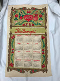 Vtg 1967 Calendar Tea Towel Unused Linen German Folk Art The Georges PA Dutch